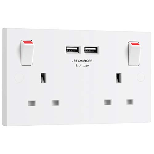 BG Electrical 922u3 Double Switched 13 A Fast Charging Power Socket with...