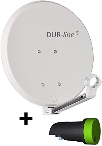 DUR-line DSA 40cm Hellgrau + Single LNB - 1 Teilnehmer Set, Hochleistungs Hart-Aluminium Spiegel - [Sat-Antenne, Satellitenschüssel, Camping, Balkon, Mini, Boot]