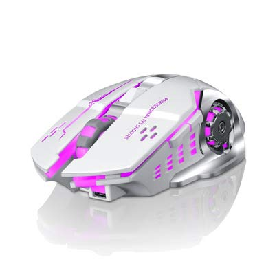 Thunder Wolf Luminous Mouse Rechargeable GHz Silent Mute Colours LED Breathe Backlit DPI Adjust Optical Ergonomic Cordless Gaming Mouse Buttons for PC Laptop Computer
