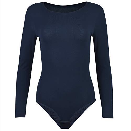 Krisli Damenbody | Frauen Bodysuit aus Baumwolle | Langarm-Body Verschluss im Schritt | Perfekte Passform | Blickdichter Body für Sport & als Basic (L, dunkelblau)