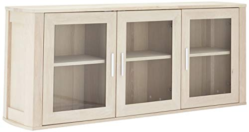 Ibbe Design Nature Massiveiche Wandregal Landhausstil Hängeschrank Paris mit 3 Glastüren und 3 Regale, Weißöl-Finish, L150x B34x H60 cm