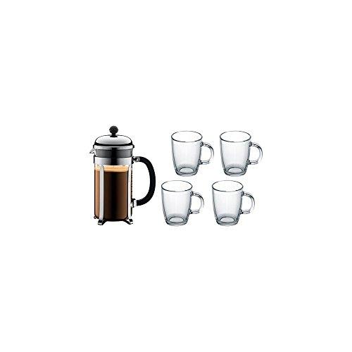 Bodum K1928-16COS Chambord Set Kaffeebereiter 1.0 L Edelstahl und 4 Stück Bistro Gläser 0.35 l Kaffeebereiter, Mehrlagig, Schwarz