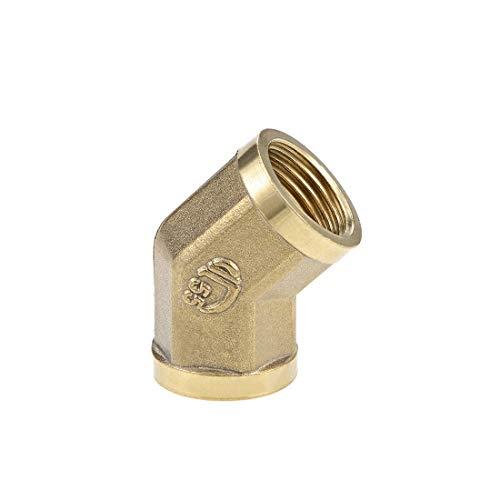 DealMux Accesorio de tubería de latón - Codo de 45 grados G1 / 2 hembra X G1 / 2 hembra Adaptador de buje hexagonal 44 mm de longitud