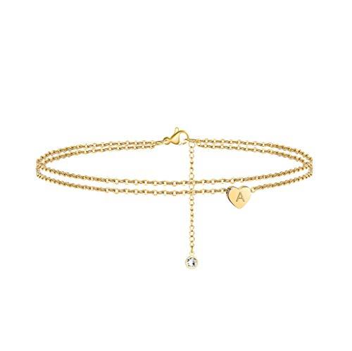 Turandoss Heart Initial Anklet Bracelet for Women, 14K Gold...