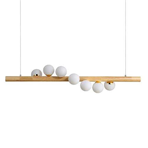 Kroonluchter hanglamp plafondverlichting hanglamp tafel retro voor eetkamer hout rustieke bal van glas met lamp plafond HAODAMAI
