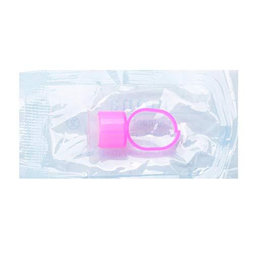 Tattoo Ink Ring Cup Holder mit Schwamm Kosmetik Permanent Make-up Tattoo Zubehör (Packung mit 10)(Pink Ring, White Cup')
