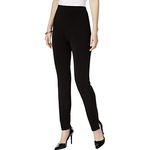 Alfani Womens Slim Leg Flat Front High-Waist Pants Black L