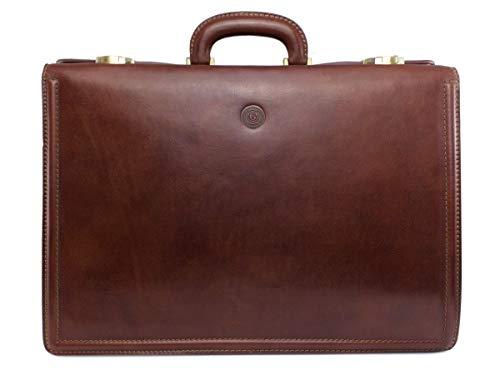 GIUDI ® Große Aktentasche aus Rindsleder, Klassisch, Aktenkoffer, Laptoptasche, Businesstasche, Diplomatentasche, Hochwertig, Nachhaltig