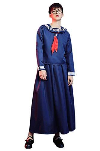 Haydory Traje de marinero para hombres y mujeres vestido de uniforme escolar japons falda larga