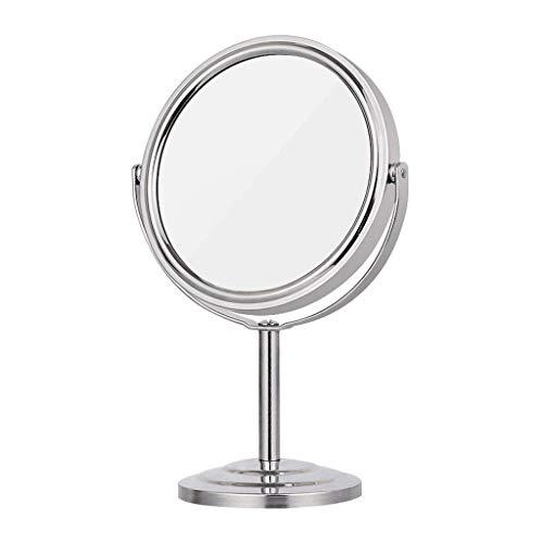 Mnjin Badezimmerspiegel 3X Kosmetikspiegel Rund Vergrößerung Desktop Desktop Doppelwaschtisch Kosmetikspiegel 360 deg ;Rotation Princess Reisespiegel Tragbarer, einfacher und moderner Ve