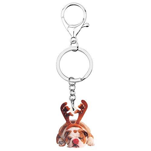 SHUHUI Acryl Weihnachten Geweih Bulldogge Hund Schlüsselanhänger Ringe Auto Geldbörse Tasche Dekorationen Schlüsselanhänger Für Frauen Mädchen Männer Charme Geschenk