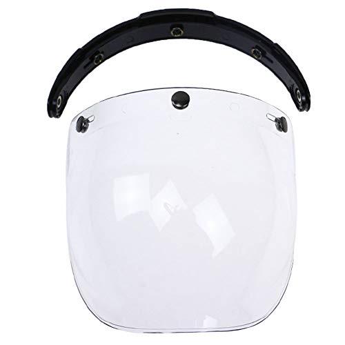 Bubble Visier hochklappen mit Halterung Antibeschlag Reiten Universal Open Face UV-Schutz Vintage kratzfest 3 Snap Windschutzscheibe Motorrad Helm staubdicht(Transparent)