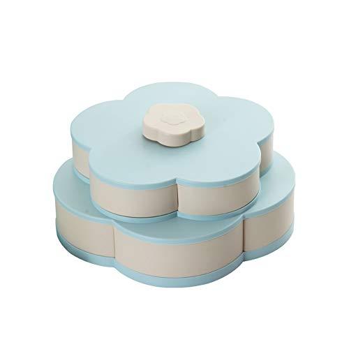 Blumen-Rotating-Süßigkeit-Kasten-Rosa 2 Schicht Getrocknete Obstteller Hochzeit Snack Serviertablett hellblau