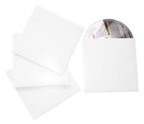 100 CD Kartonstecktaschen, CD Hüllen aus Karton Weiß Glänzend (CD Papphüllen), Leere Hüllen für CD/DVD/Blu-Ray Rohlinge, Made in Germany