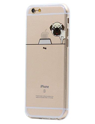 iPhone 6S Plus / 6S Plus Custodia Cover , Keyihan Leggero Sottile Morbido Trasparente Chiaro TPU Divertente Carina Animale domestico Cucciolo Cane Modello Protettiva Caso per Apple iPhone 6 Plus / iPhone 6S Plus (Carlino Pug)