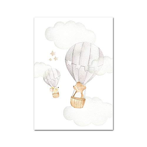 LiMengQi2 Bebé guardería pared arte lienzo impresión póster para niños acuarela Bosque Animal cuadro de Globo niños nórdico imagen de decoración de la habitación(No Frame)