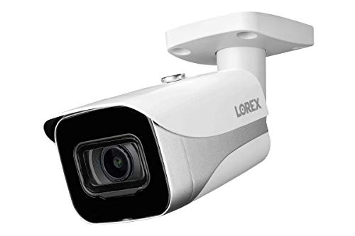Lorex E861AB-E Indoor/Outdoor 4K Ultra HD Smart IP Security Bullet Camera, 2.8mm, 130ft IR Night Vision, Color Night Vision,Works with N841/LNR600/LNR6100/N861B/N881B Series, ACJNCD4B, White