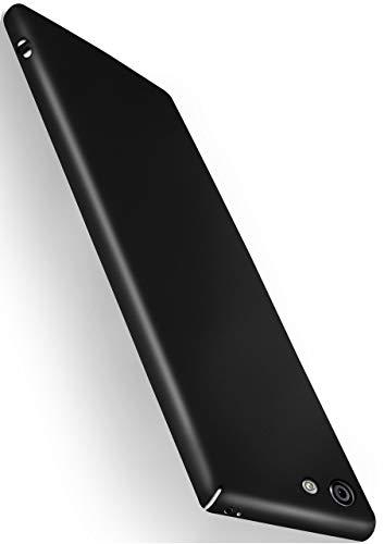 moex Alpha Hülle für Sony Xperia M5 Hülle Stoßfest & Leicht Handyhülle Extra Dünn, Super Slim Schutzhülle Ultra Air Hybrid PC Hardcase aus Kunststoff - Matt Schwarz