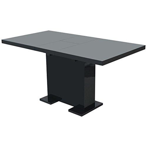 vidaXL Mesa de Comedor Extensible Negra Brillante Mueble Mobiliario MDF Acero