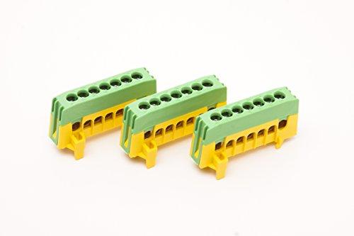 3 Stück PE7-F2 Sammelklemme, Schutzleiterklemme, grün/gelb, 7x 16mm²