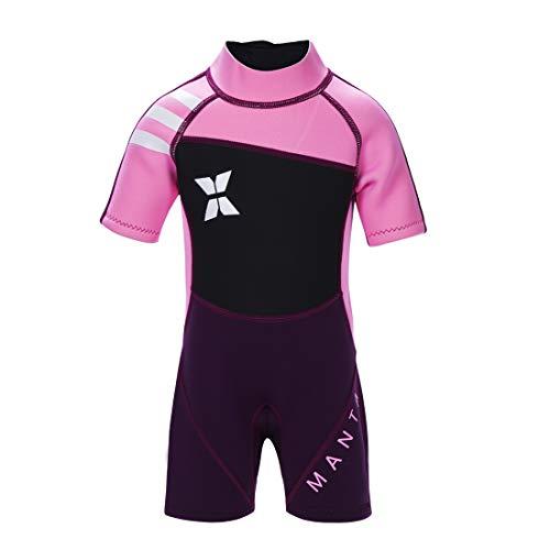 GWELL Jungen Mädchen Kinder Neoprenanzug 2.5MM Neopren Kurzarm Wäremehaltung UV-Schutz Tauchanzug Badeanzug für Wassersport Rosa S