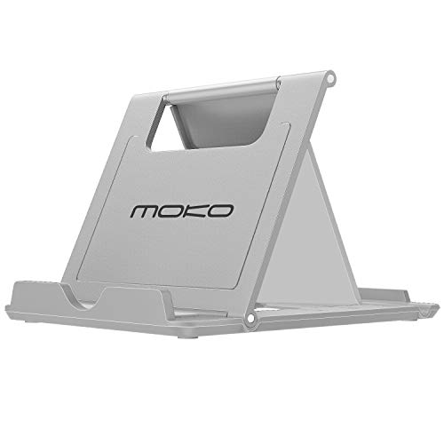 "MoKo Portatile Pieghevole Supporto per Smartphone, Tablet (6-8"") e E-Reader, Adatto a iPhone 12 Mini/iPhone 12/iPhone 12 PRO/iPhone 12 PRO Max, iPhone 11 PRO Max/11 Pro/11, iPad Mini 5/4, Grigio"