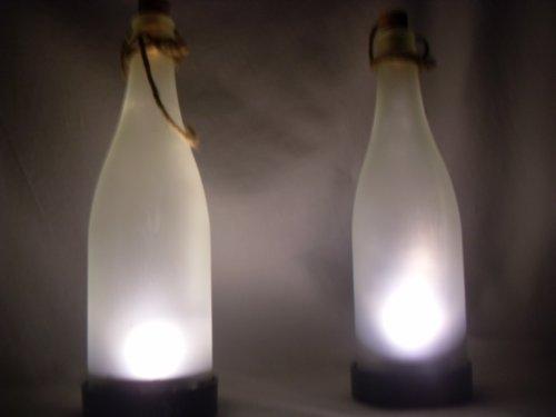 Lunartec Solar flesverlichting: Solar-LED-lamp flessenpost, wit (LED Solar fleslamp)