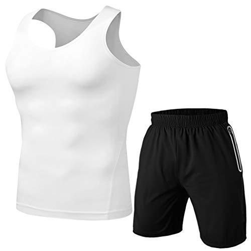 Yowablo Herren Tracksuit Hose Sportanzug Fitness Schweißabsorbierend Atmungsaktiv Kurzarm (3XL,Weiß)