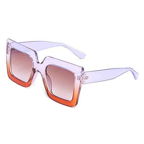FDNFG Gafas de Sol cuadradas de Gran tamaño Mujeres Big One Lens Mans Black Sun Glasses Femenina UV400 Marco Transparente Gafas de Sol (Lenses Color : Purple)