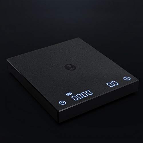 Báscula digital multifunción 0,5 g min con temporizador, báscula electrónica inteligente para filtros de espresso, función de pesaje de tara, recargable por USB, pantalla táctil (negro)