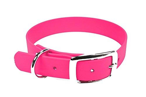 LENNIE BioThane Halsband, Dornschnalle, 13 mm breit, Größe 26-30 cm, Neon-Pink, Aufdruck möglich