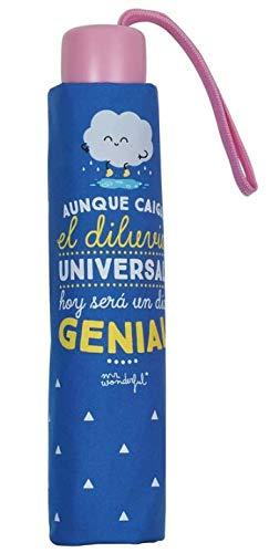 Mr.Wonderful - Paraguas Plegable Manual   Paraguas Antiviento Pequeño y Compacto Ideal para Viajes, Infantil - Azul