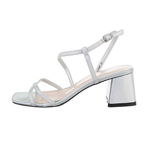 Ital Design Damenschuhe Sandalen & Sandaletten High Heel Sandaletten, GH397-, Kunstleder, Silber, Gr. 37