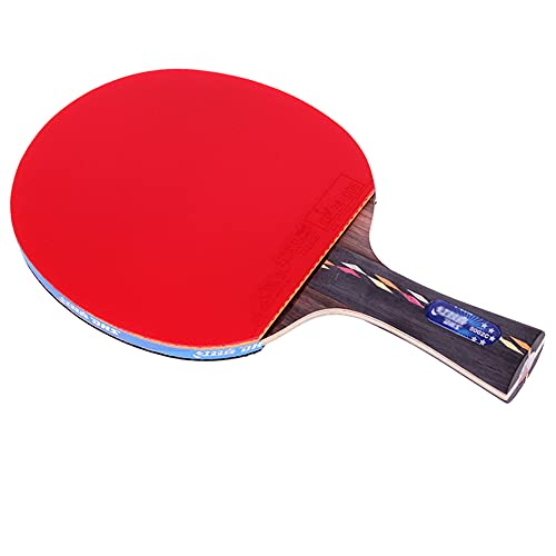 LINGOSHUN Juego de Raquetas de Ping Pong,Bate de Tenis de Mesa con Tecnología de Fibra de Carbono,Goma Ofensiva / 5 Stars/Long handle
