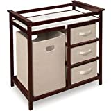 Modern Changing Table with 3 Baskets and Hamper - Color: White