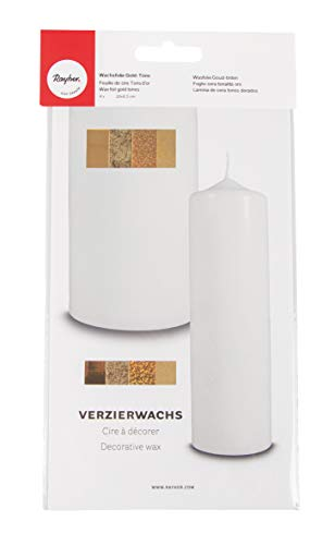 Rayher 31437000 Fogli di Cera per Decorare, Colori Oro, Set con 4 Fogli di Cera, Dimensioni 20 x 6.5 cm Ciascuno, Decorazioni Candele, Comunione, Battesimo, Matrimonio
