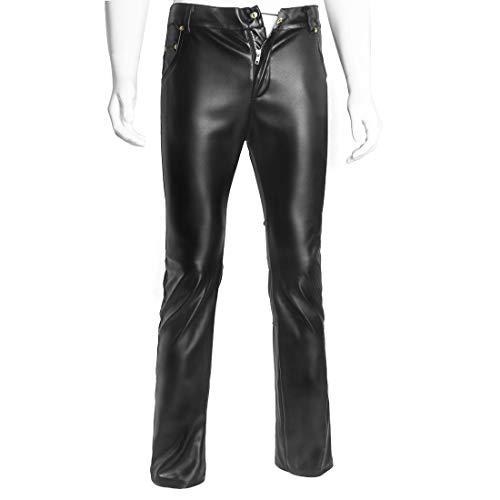 Duuozy Herren PU Lederhose Rock Steampunk Skinny Slim Fit Straight Leg Hosen Trachtenlederhose,Black,M