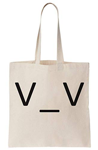 graphke Sleepy Eyes Keyboard Type Anime Face Canvas Tote Bag Tragetasche