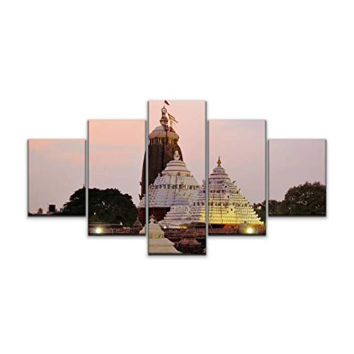 Night in U.S Canvas Art Wall jagannath Temple in Puri Orissa India National Day of Prayer Paintings Vintage Prints Home Decor Artworks Gift Ready to Hang for Office Decor 5 Panels Large Size