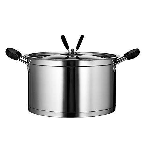 Acier Inoxydable Bas Pot De Soupe Polyvalent Cuisinier Plaque à Induction But GéNéRal Binaural Couvercle En Verre La PoêLe,22cm
