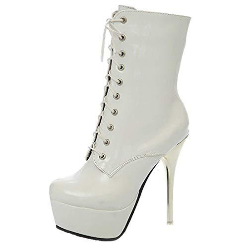 MISSUIT Damen Extreme Plateau High Heels Stiletto Stiefeletten mit Schnürung Ankle Boots Lack Reißverschluss(Weiß,39)