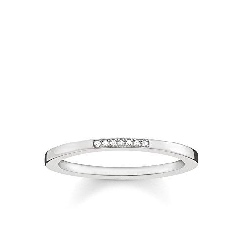 Thomas Sabo Damen-Ring Glam & Soul 925 Sterling Silber Diamant Pavè weiß Gr. 52 (16.6) D_TR0005-725-14-52