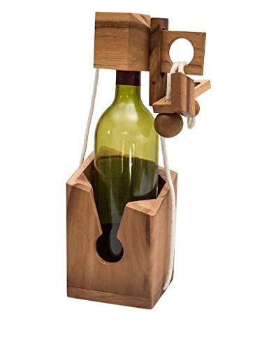 ROMBOL Flaschentresor - Edles Denkspiel aus Holz für große Flaschen, Modell:3