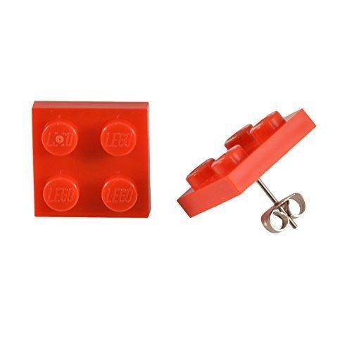 LEGO 2x2 Quadrat Ohr Ohrstecker Neuheit Cool Geschenkidee - Rot