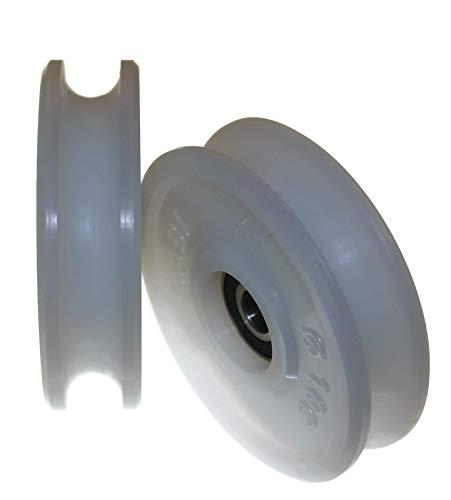 2 poleas de nailon de 100 mm de diámetro, varios tamaños de ranura fabricados en la UE (ranura de 16 mm)