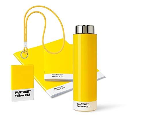 Pantone 18235 Unterwegs, gelb, aus Trinkflasche, Schlüsselband Keychain Long, Booklet 2er-Set und Visitenkartenhalter, Yellow 012, 5 Artikeln, 5 Komponente
