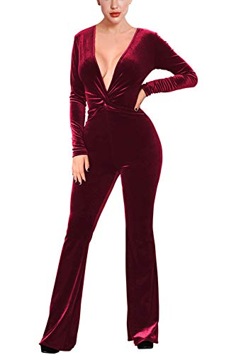 Fixmatti Women Twist Knot Plunging V Velour Bodycon Club Jumpsuits Ruby XL