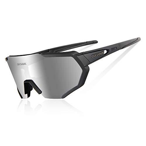 Queshark Gafas De Sol Polarizadas para Ciclismo con 3 Lentes Intercambiables UV400 MTB Bicicleta Montaña (Negro)