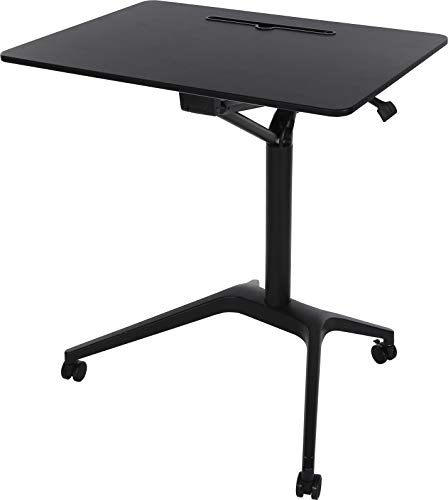 """ApexDesk Mobile Pneumatic Laptop Rolling Desk 28"""" Wide Desktop 33.5"""" to 45.5"""" Height Adjustable Sit-to-Stand Ergonomic Design with Tablet Slot & Lockable Wheels for Office & Classroom (28"""" Top, Black)"""