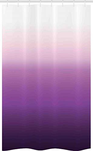 ABAKUHAUS Ombre Schmaler Duschvorhang, Abstrakt Tone Moderne, Badezimmer Deko Set aus Stoff mit Haken, 120 x 180 cm, Lavendel Lila